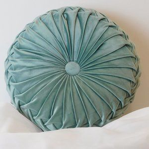 Round Pleated Velvet Pillow Aqua. NWOT